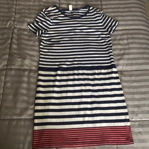 Striped blue, white, and pink short sleeve dress